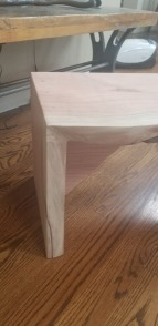 redwood bench corner